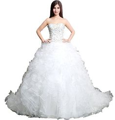 BIXIZHIRAN Womens Semi Sweetheart Beading Rhinestone Crystal Wedding Dress US 8 >>> Check out the image by visiting the link.