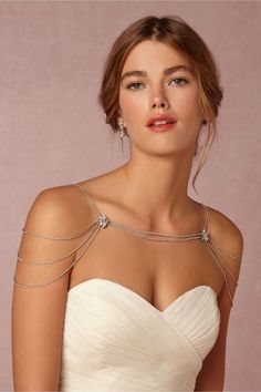 Reina Shoulder Necklace in Bride Bridal Jewelry at BHLDN Body Chain Jewelry, Back Jewelry, Wedding Jewelry, Silver Jewelry, Jewelry Necklaces, Pearl Necklaces, Bridesmaid Jewelry, Bridesmaid Gifts, Silver Rings