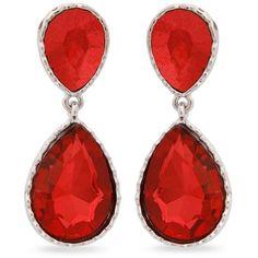 Erica Lyons Red Silver-Tone Drama Double Teardrop Drop Earrings (€10) ❤ liked on Polyvore featuring jewelry, earrings, red, teardrop jewelry, imitation jewellery, tear drop earrings, silver tone jewelry and red teardrop earrings