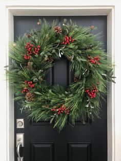 Front Door Wreaths, Premium Wreaths and Home Decor by twoinspireyou Homemade Christmas Wreaths, Holiday Wreaths, Christmas Home, Winter Wreaths, Christmas Crafts, Natal Diy, Alternative Christmas Tree, Outdoor Christmas Decorations, Colonial Williamsburg