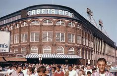 Today in 1960 - Wrecking crews began to demolish the venerable home of the Brooklyn Dodgers: Ebbets Field in New York City. The wrecking ball came in a little high and outside. The Dodgers were happy in their new home in Los Angeles and not moving back! Baseball Scores, Baseball Park, Dodgers Baseball, Baseball Jerseys, Baseball Games, Baseball Field, Baseball Uniforms, Pro Baseball, Baseball Training