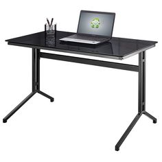 Samara Glass Computer Desk In Black With Dark Grey Metal Frame