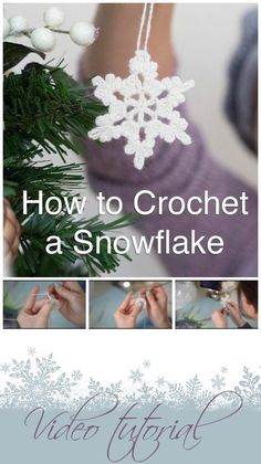 Video for how to crochet a snowflake. Nice and simple, includes easy blocking info too. I got great results with this even though I've only just started out.