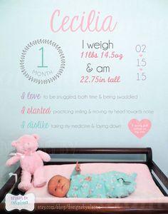 Baby Monthly Stats Milestones Photo Overlay by DesignsByAlaina