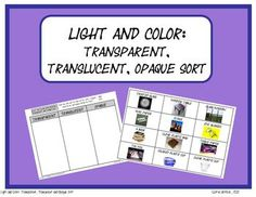 This product features a sorting chart and sorting cards to help student classify objects as either transparent, translucent or opaque.  There are 12 full color cards for students to sort.    This is a great group activity that you could check as a class, an individual assessment or a science center activity to review a light and color unit!