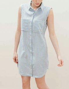 Plus Size Striped Linen Shirt Dress Casual Dresses, Casual Outfits, Fashion Dresses, Linen Shirt Dress, Stripped Dress, Mid Length Dresses, Striped Linen, Pulls, Dress Patterns