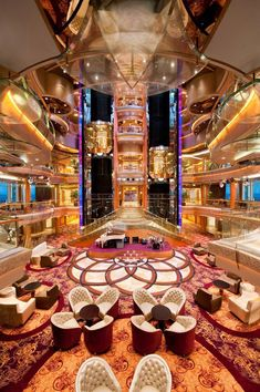 Royal Caribbean Rhapsody of the Seas cruise from Tampa. Main dining room. #cruisevacationcelebrityeclipse Freedom Of The Seas, Harmony Of The Seas, Royal Caribbean Ships, Royal Caribbean Cruise, Royal Cruise, Cruise Travel, Cruise Vacation, Italy Vacation, Crucero Royal Caribbean