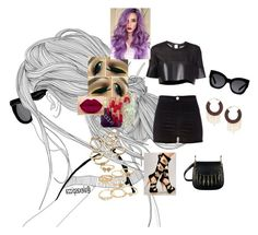 """""""Sweet Dreams #Beyonce"""" by diane-ds ❤ liked on Polyvore featuring beauty, Phoebe English, River Island, Candie's, Mudd, Topshop and Karen Walker"""