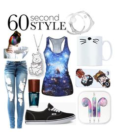 """""""60 Second Style: Graphic Tee"""" by chinesedragon88 ❤ liked on Polyvore"""