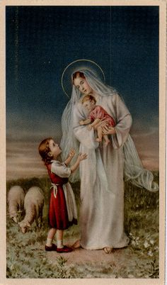 Blessed Mother with Infant Jesus I Love My Mother, Blessed Mother Mary, Blessed Virgin Mary, Catholic Art, Religious Art, Roman Catholic, Vintage Holy Cards, Lady Of Fatima, Queen Of Heaven