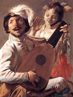 Hendrick Terbrugghen (1588-1629) Het duet (1628) Olie op doek 106 x 82 cm - Het Louvre