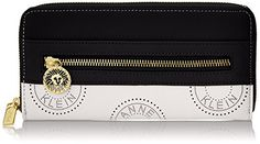 Anne Klein New Recruits Perforated Signature Zip Around Wallet, White/Black Multi, One Size
