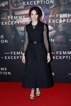 2070c5f54df Actress  FelicityJones in a sleek  Dior Spring-Summer 2019 shirtwaist dress  over a