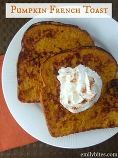 Pumpkin French Toast - just 5 ingredients for a taste of Fall! Only 145 calories or 4 Weight Watchers points for two slices! www.emilybites.com #healthy