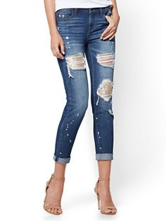 Unique and unexpected: shimmering sequins add a glam accent to our otherwise-edgy destroyed Boyfriend jean; silvertone hardware and contrast topstitching complete the look. Exclusively at New York and Company.