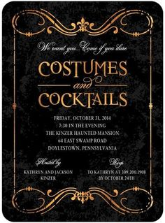 Invite your friends and family to your costume and cocktail Halloween party with this hauntingly beautiful invitation.