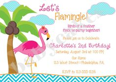 Pink Flamingo Invitation - DIY Print Your Own - Matching Party Printables Available on Etsy, $12.00