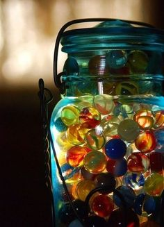 I have my marbles in an old Mason jar, too! Great minds...