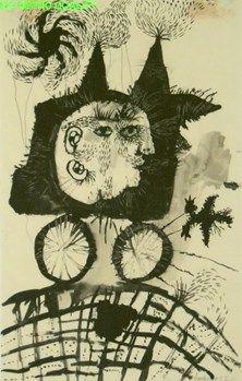 Lucebert (1924-1994) Nederlands schilder en dichter, hij koos het pseudoniem Lucebert (lichtbrenger).  Met zijn dichtwerk nam hij deel aan de Cobra-tentoonstelling in Amsterdam in 1949, op welk moment hij uit de beweging stapte. Enerzijds stimuleerde Cobra hem, en de andere experimentele dichters, om de vrijheid die zij tot dan toe tastend in de taal zochten nu in volle overtuiging ook werkelijk te kiezen; anderzijds liet zij diepe sporen na in zijn ontwikkeling als schilder.  -1951
