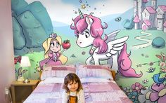 Pink unicorn and little princess mural wallpaper #princess