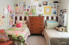 Uma menina e um menino dividem esse quarto com atmosfera descontraída!