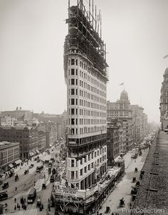 Flatiron Building during construction in 1902, New York, N.Y., photographed by the Detroit Publishing Company on 8x10 glass plate negative.