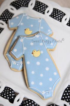 Ducky Onesies by Sweet Pudgy Panda Baby Boy Cookies, Onesie Cookies, Baby Shower Cookies, Cute Cookies, Cupcake Cookies, Cookie Favors, Valentine Cookies, Easter Cookies, Birthday Cookies