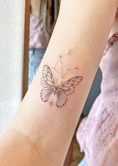 Butterfly and Libra constellation by @chey_inks Unique Butterfly Tattoos, Butterfly Tattoo On Shoulder, Flower Tattoo Arm, Shoulder Tattoo, Libra Constellation Tattoo, Libra Tattoo, Chest Tattoo, Arm Tattoo, Arm Tattoos