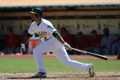 CrowdCam Hot Shot: Oakland Athletics center fielder Coco Crisp hits a two-run home run against the Los Angeles Angels during the third inning at O.co Coliseum. Photo by Kyle Terada