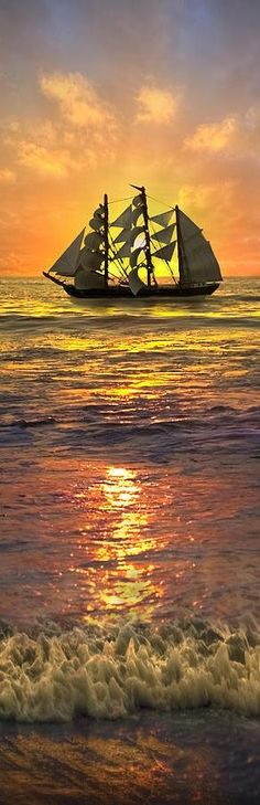 This is a beautiful sunset which I think is enhanced by the ship.I do not know who the Artits is. Pinned from Beverlee - sailing ship sunset; Beautiful Sunset, Beautiful World, Beautiful Forest, Beautiful Morning, Cool Photos, Beautiful Pictures, Amazing Photos, Amazing Places, Full Sail