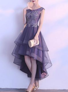 Grey purple high low round neckline party dresses cute party dresses bemybridesmaid ball gown v neck spaghetti straps prom dresses with pockets quinceanera dresses this dress could be custom made there are no extra cost to do custom size and color Elegant Dresses, Beautiful Dresses, Casual Dresses, Short Dresses, Fashion Dresses, Girls Dresses, Dresses Dresses, Dresses Online, Wedding Dresses