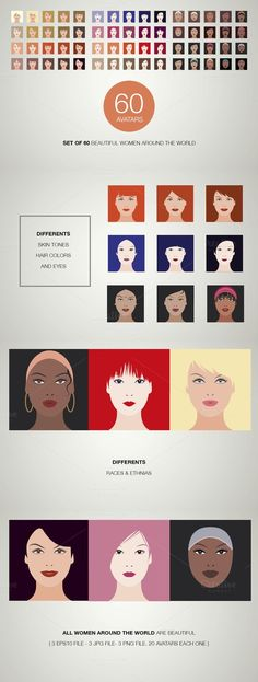 Beautiful women avatar set