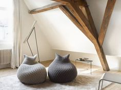 Slumber Poufs by Aleksandra Gaca. Love the wood beams too. I love the word Pouf. Anything named Pouf is cute. Furniture Decor, Furniture Design, Cat Furniture, Pouf Design, Bag Design, Deco Design, Home And Deco, My New Room, Interior And Exterior
