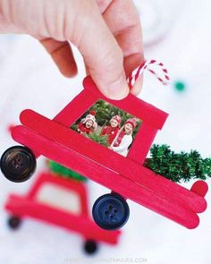 Make this adorable DIY popsicle stick Christmas truck and add a special holiday photo. Fun Christmas craft and family keepsake ornament. kids crafts DIY Car and Truck Popsicle Stick Christmas Ornaments Kids Crafts, Craft Stick Crafts, Craft Gifts, Kids Diy, Easy Crafts, Diy Gifts, Family Crafts, Plate Crafts, Crafts To Do