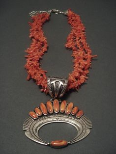 Lee Chee (Navajo) sterling, coral and spiny oyster necklace