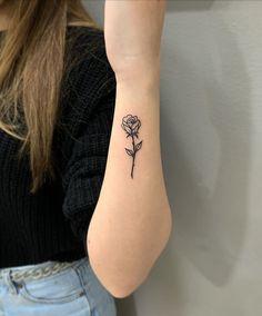 Rose Tattoo On Ankle, Tiny Rose Tattoos, Birth Flower Tattoos, Rose Tattoos For Women, Tiny Tattoos For Girls, Bff Tattoos, Dope Tattoos, Pretty Tattoos, Mini Tattoos