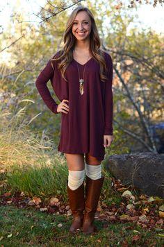 Long Sleeve Piko Dress - Dark Burgundy