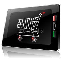 ❀NEW!❀ #Smart #Phone #Tablet with #Shopping #Cart-#Carrello #Spesa in #Computer © bluedarkat  http://it.fotolia.com/id/48655294#