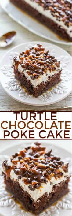Turtle Cake Turtle Chocolate Poke Cake - The flavor of the famous candy in a decadent chocolate cake with tons of CARAMEL and pecans! Easy, super soft and moist, and a crowd FAVORITE! One of the BEST CAKES ever!Turtle Chocolate Poke Cake - The flavor of Chocolate Turtle Cakes, Decadent Chocolate Cake, Chocolate Cake Mixes, Chocolate Chips, Poke Cake Recipes Chocolate, Quick Chocolate Cake, Easy Chocolate Desserts, Chocolate Apples, Decadent Food