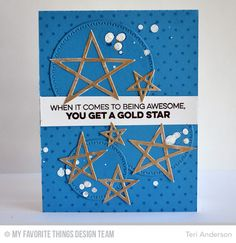 Gold Star - Scrapbook.com - Die cut stars and white splatters on this congratulatory card are so fun!