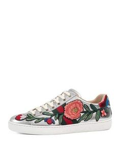 Shop for New Ace Floral Leather Sneaker by Gucci on ShopStyle.