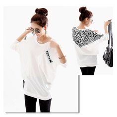 #Twinkledeals - #TwinkleDeals Korean Fashion and Mix-Matched Style Leopard Print Embellished Loose Bat-Wing Sleeves T-shirt For Women - AdoreWe.com