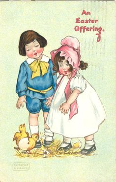 Boy & Girl watch Easter chicks hatch; s/ Gassaway; p/ Tuck; pm 1908; embossed; G-VG