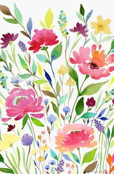 Art print let your garden grow print: floral sanat eğitimi, Art Floral, Motif Floral, Floral Prints, Watercolor Art Paintings, Watercolor Flowers, Painting & Drawing, Watercolors, Kid Painting, Art Aquarelle
