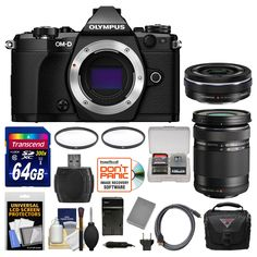 Olympus OM-D E-M5 Mark II Micro 4/3 Digital Camera Body (Black) with 14-42mm EZ & 40-150mm Lenses + 64GB Card + Case + Battery/Charger + Kit. KIT INCLUDES 14 PRODUCTS -- All BRAND NEW Items with all Manufacturer-supplied Accessories + Full USA Warranties:. [1] Olympus OM-D E-M5 Mark II Micro 4/3 Digital Camera Body (Black) + [2] Olympus 14-42mm EZ Lens + [3] Olympus M.Zuiko 40-150mm Lens +. [4] Transcend 64GB SDXC 300x Card + [5] Spare BLN-1 Battery & Charger + [6] Vivitar 37mm UV Glass...
