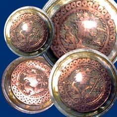 Rare 18th C. Copper Foil Cut-out Under Glass on Pearl Button ~ R C Larner Buttons at eBay  http://stores.ebay.com/RC-LARNER-BUTTONS