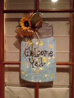 "Burlap Mason Jar door hanger...""fireflies"" light up!"