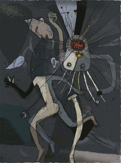 Toshihiko Okuya, study #085 (fleeing) on ArtStack #toshihiko-okuya #art