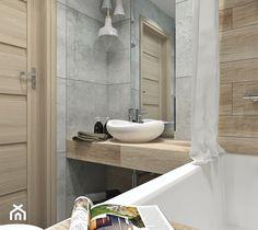 Aranżacje wnętrz - Łazienka: Piękno drewna i niezależność betonu - Łazienka, styl skandynawski - LUDWEE Pracownia Architektury Wnętrz Ewa Jasionowska. Przeglądaj, dodawaj i zapisuj najlepsze zdjęcia, pomysły i inspiracje designerskie. W bazie mamy już prawie milion fotografii! Bathroom Lighting, Bathtub, Mirror, Interior, Bathrooms, Furniture, Home Decor, Bathroom Light Fittings, Standing Bath