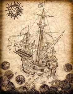 Pirate Ship Art Print, Spanish Galleon with Treasure Coins Surrounding; Pirate Ship Sailing Away With Jolly Rogers Flying